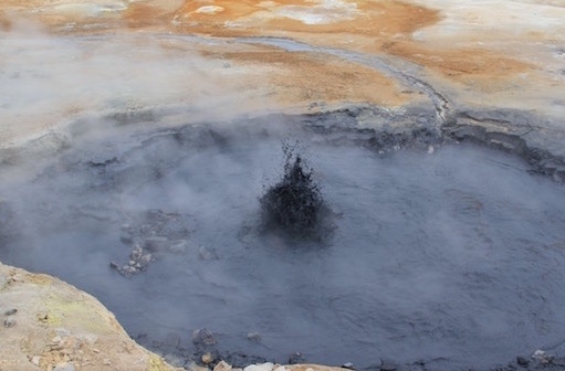 Boiling mud pool - geothermal Iceland